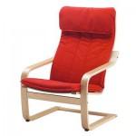 POEGE Armchair - Alme klasik merah, venir birch
