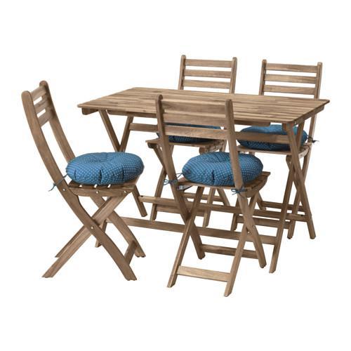 ASKHOLMEN Stół + krzesło 4, d ogród Asskolmen szaro brązowy plama Itteron niebieski