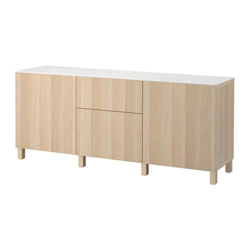Lappviken bir beyazlatılmış meşe, kutu raylar, itme - kapılar / çekmeceli depolamak için BESTÅ combo