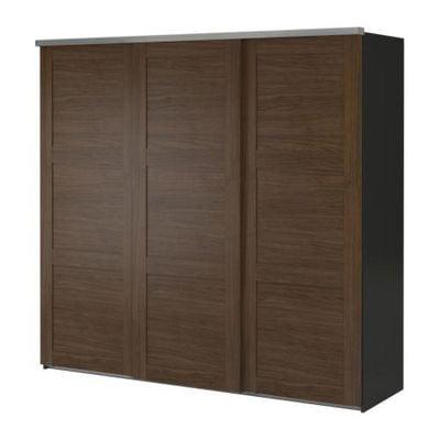 Armadio 5 Ante Ikea.Elga Wardrobe With Sliding Doors 3 Gray Engan Walnut Effect S39861437 Reviews Price Comparisons