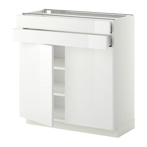 МЕТОД / МАКСИМЕРА Напольный шкаф/2дверцы/2ящика - 80x37 см, Рингульт глянцевый белый, белый