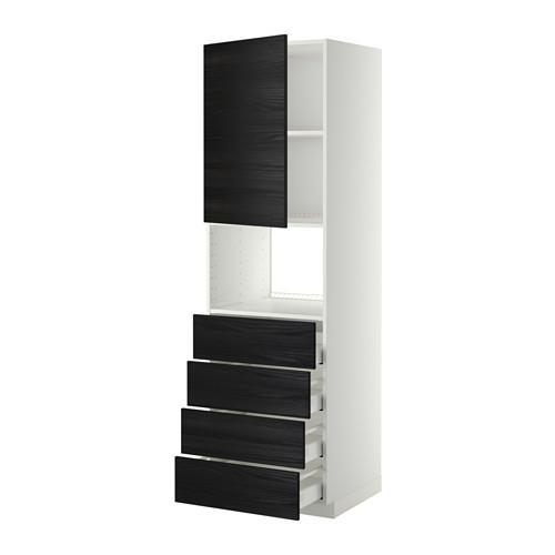 МЕТОД / МАКСИМЕРА Высок шкаф д/духовки/дверца/4ящика - 60x60x200 см, Тингсрид под дерево черный, белый