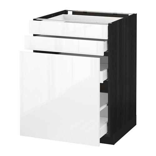 МЕТОД / МАКСИМЕРА Нплн шк с вдв мдл/2 фрнт - 60x60 см, Рингульт глянцевый белый, под дерево черный