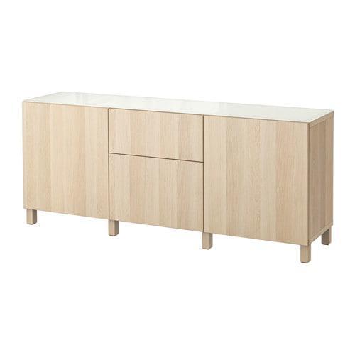 BESTÅ Combe pre ukladanie s dverami / zásuvky - Lappviken si bielený dub, krabice koľajnice, stisk