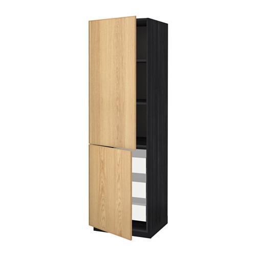 МЕТОД / МАКСИМЕРА Высокий шкаф+полки/3 ящика/2 дверцы - 60x60x200 см, Экестад дуб, под дерево черный