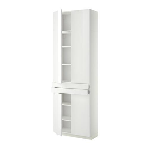 МЕТОД / МАКСИМЕРА Высокий шкаф+полки/2 ящика/4 дверцы - Рингульт глянцевый белый, белый