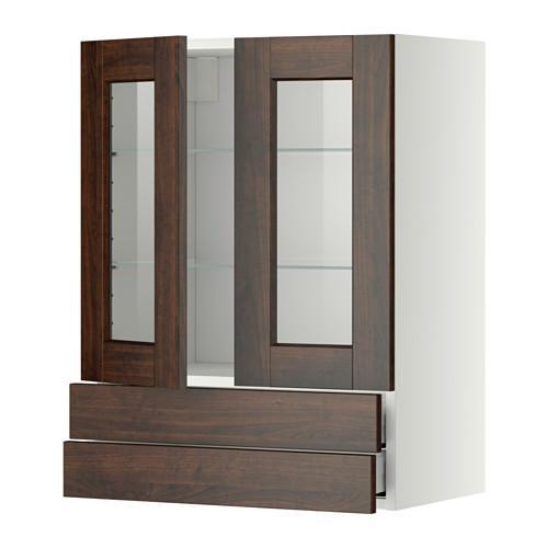 МЕТОД / МАКСИМЕРА Навесной шкаф/2 стек дв/2 ящика - 60x80 см, Эдсерум под дерево коричневый, белый