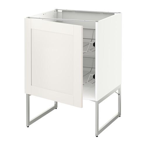 МЕТОД Напольный шкаф с проволочн ящиками - 60x60x60 см, Сэведаль белый, белый