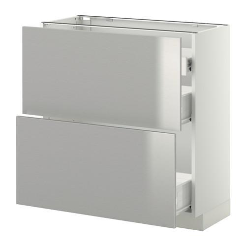 VERFAHREN / FORVARA Nap Schrank 2 FRNT PNL / 1nizk / 2sr Schubladen - weiß, Grevsta Edelstahl, 80x37 cm
