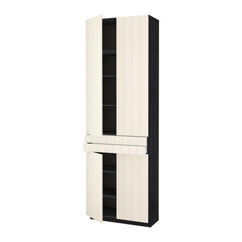 МЕТОД / МАКСИМЕРА Высокий шкаф+полки/2 ящика/4 дверцы - под дерево черный, Хитарп белый с оттенком