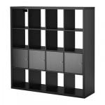 КАЛЛАКС Стеллаж с 4 вставками - черно-коричневый