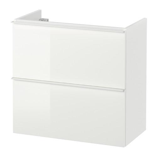 GODMORGON Waschbecken Schrank mit 2 Kiste - Glanzweiß, 60x30x58 sehen