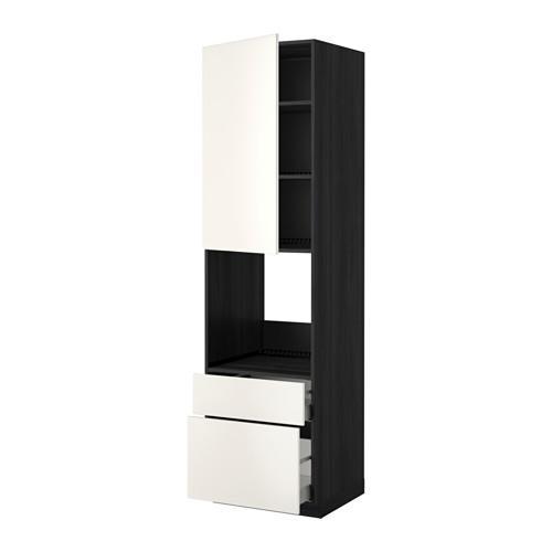МЕТОД / МАКСИМЕРА Высок шкаф д духов+дверь/2 ящика - 60x60x220 см, Веддинге белый, под дерево черный