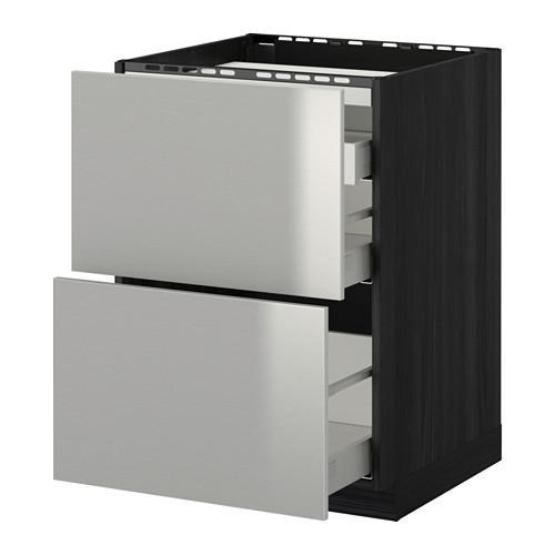 МЕТОД / МАКСИМЕРА Напольн шкаф/2 фронт пнл/3 ящика - 60x60 см, Гревста нержавеющ сталь, под дерево черный
