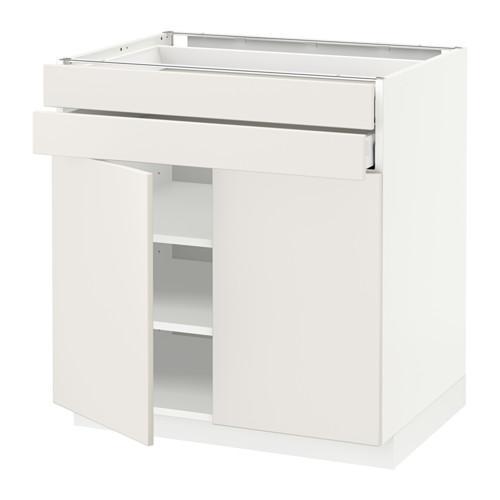 МЕТОД / МАКСИМЕРА Напольный шкаф/2дверцы/2ящика - 80x60 см, Веддинге белый, белый
