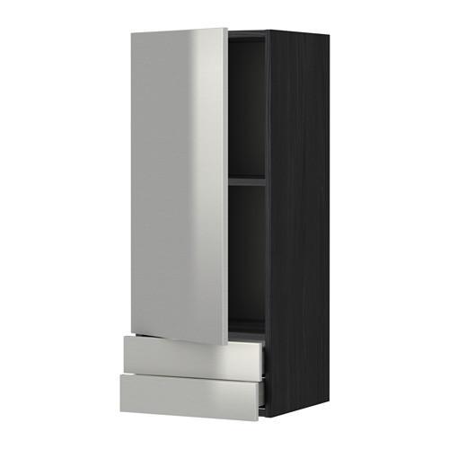 МЕТОД / МАКСИМЕРА Навесной шкаф с дверцей/2 ящика - 40x100 см, Гревста нержавеющ сталь, под дерево черный