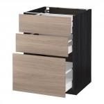 МЕТОД / МАКСИМЕРА Напольный шкаф с 3 ящиками - 60x60 см, Брокхульт под грецкий орех светло-серый, под дерево черный