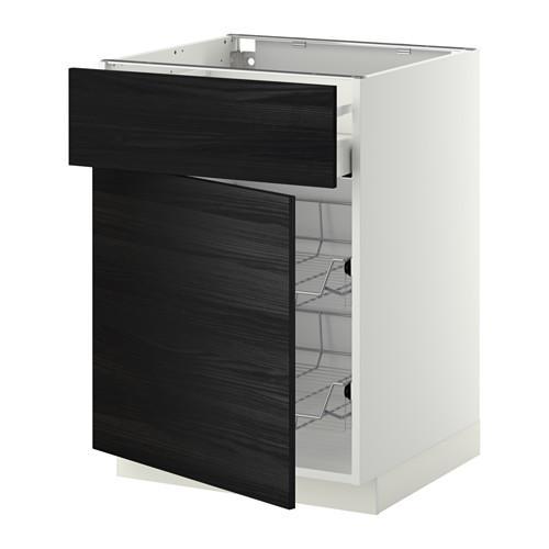 МЕТОД / МАКСИМЕРА Напольн шкаф с пров корз/ящ/дверью - 60x60 см, Тингсрид под дерево черный, белый