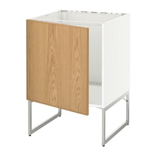 МЕТОД Напольный шкаф для раковины - Экестад дуб, белый