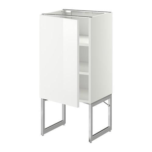 МЕТОД Напольный шкаф с полками - 40x37x60 см, Рингульт глянцевый белый, белый