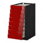 МЕТОД / МАКСИМЕРА Наполн шкаф 8 фронт/8 низк ящиков - 40x60 см, Рингульт глянцевый красный, под дерево черный