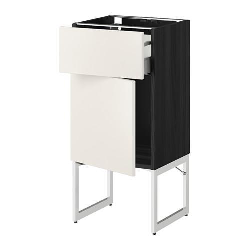 МЕТОД / МАКСИМЕРА Напольный шкаф с ящиком/дверью - 40x37x60 см, Веддинге белый, под дерево черный