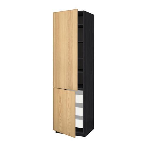 МЕТОД / МАКСИМЕРА Высокий шкаф+полки/3 ящика/2 дверцы - под дерево черный, Экестад дуб, 60x60x220 см