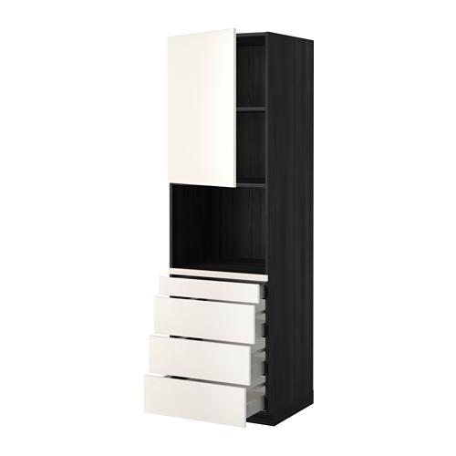 МЕТОД / МАКСИМЕРА Высокий шкаф д/комбинир СВЧ/4 ящика - 60x60x200 см, Веддинге белый, под дерево черный