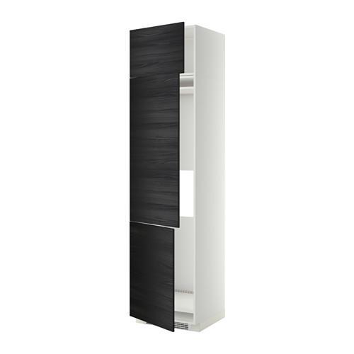 МЕТОД Выс шкаф для хол/мороз с 3 дверями - 60x60x240 см, Тингсрид под дерево черный, белый