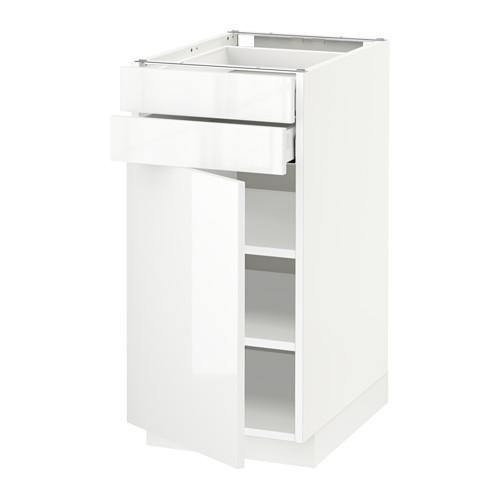 МЕТОД / МАКСИМЕРА Напольный шкаф с дверцей/2 ящиками - 40x60 см, Рингульт глянцевый белый, белый