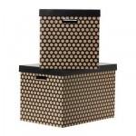 ПИНГЛА Коробка с крышкой - черный, 56x37x36 см