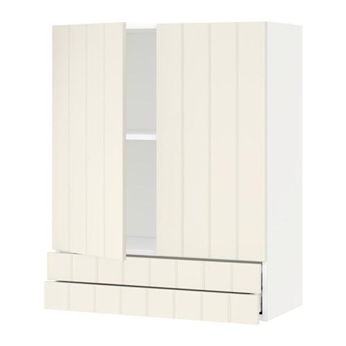 МЕТОД / МАКСИМЕРА Навесной шкаф/2дверцы/2ящика - 80x100 см, Хитарп белый с оттенком, белый
