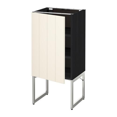МЕТОД Напольный шкаф с полками - 40x37x60 см, Хитарп белый с оттенком, под дерево черный