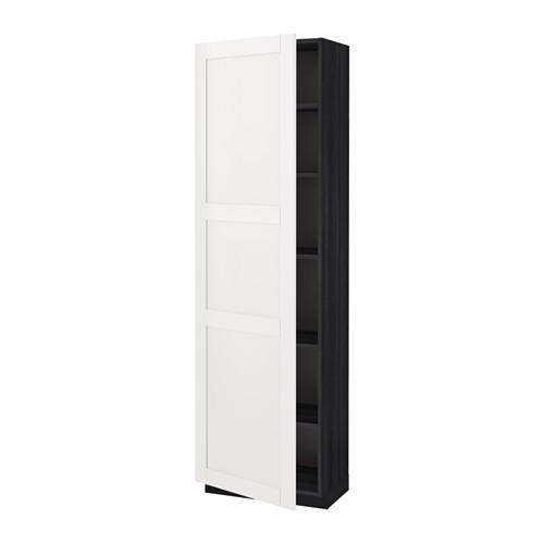 МЕТОД Высок шкаф с полками - 60x37x200 см, Сэведаль белый, под дерево черный