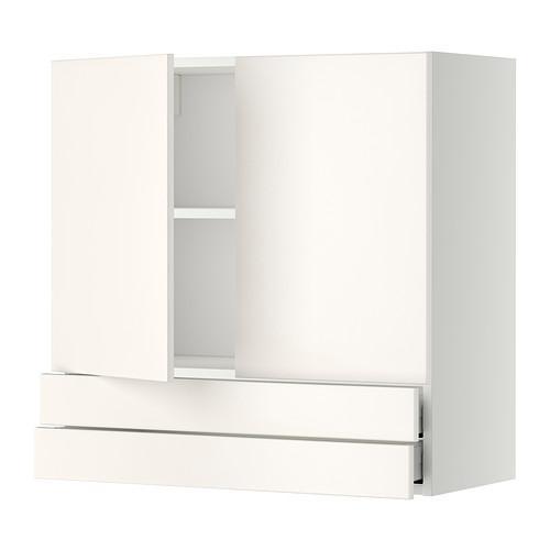 МЕТОД / МАКСИМЕРА Навесной шкаф/2дверцы/2ящика - 80x80 см, Веддинге белый, белый