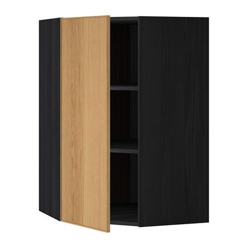 МЕТОД Угловой навесной шкаф с полками - 68x100 см, Экестад дуб, под дерево черный