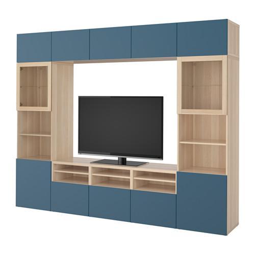 besto tv schrank kombiniert glast ren unter gebleicht eiche valviken marineblau klarglas. Black Bedroom Furniture Sets. Home Design Ideas