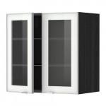 МЕТОД Навесной шкаф с полками/2 стекл дв - 60x60 см, Ютис матовое стекло/алюминий, под дерево черный