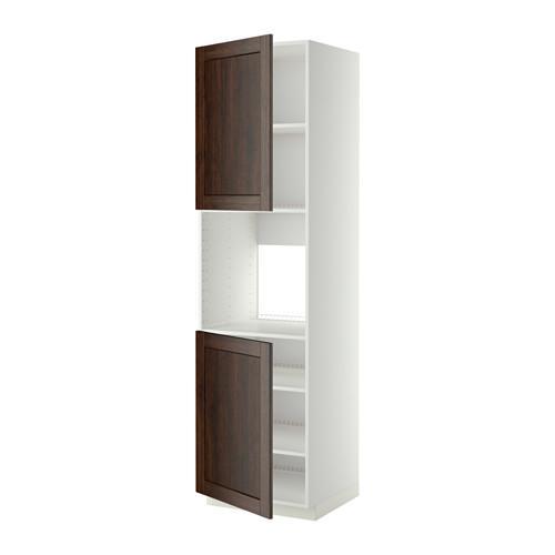 МЕТОД Высок шкаф д/духовки/2дверцы/полки - 60x60x220 см, Эдсерум под дерево коричневый, белый