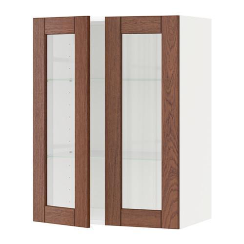 МЕТОД Навесной шкаф с полками/2 стекл дв - 60x80 см, Филипстад коричневый, белый