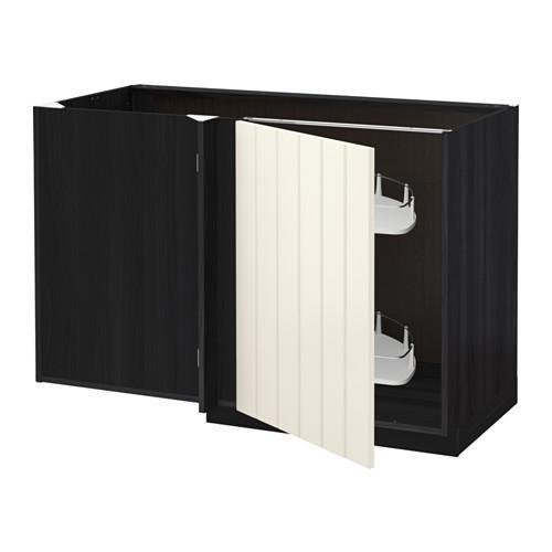 МЕТОД Угловой напол шкаф с выдвижн секц - Хитарп белый с оттенком, под дерево черный