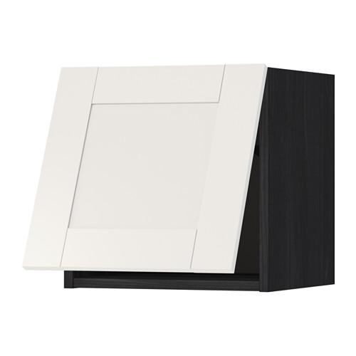 МЕТОД Горизонтальный навесной шкаф - 40x40 см, Сэведаль белый, под дерево черный