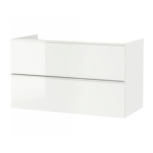 GODMORGON Waschbecken Schrank mit 2 Kiste - Glanzweiß, 100x47x58 sehen