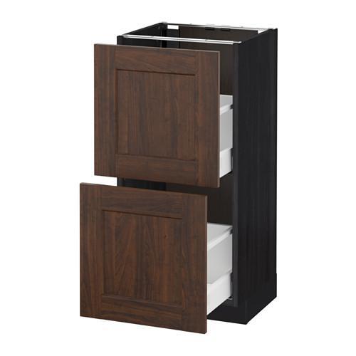 МЕТОД / МАКСИМЕРА Напольный шкаф с 2 ящиками - 40x37 см, Эдсерум под дерево коричневый, под дерево черный