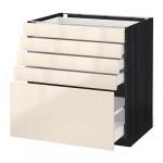 МЕТОД / МАКСИМЕРА Напольный шкаф с 5 ящиками - 80x60 см, Рингульт глянцевый кремовый, под дерево черный