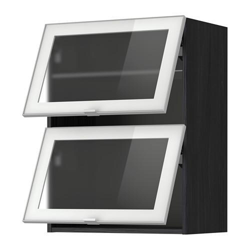 МЕТОД Навесн горизонтал шкаф/2 зерк дверц - 60x80 см, под дерево черный, Ютис матовое стекло/алюминий
