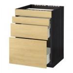 VERFAHREN / FORVARA Nap Schrank d / Backofen / 4fasada / 3yaschika - 60x60 cm Tingsrid Birke, schwarz Holz