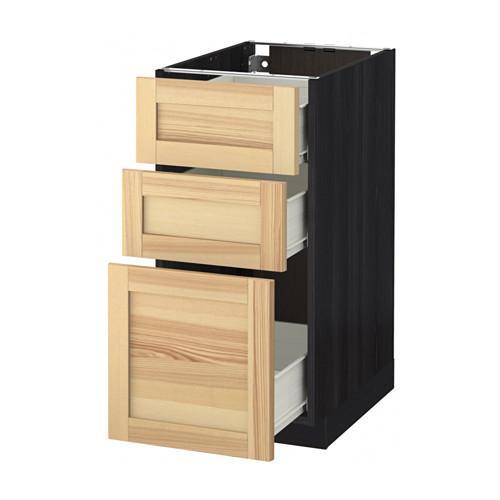 MÉTODO / FORVARA base del armario con cajones 3 - madera de color negro, Torhemn fresno natural, 40x60 cm