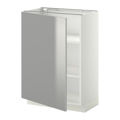 МЕТОД Напольный шкаф с полками - 60x37 см, Гревста нержавеющ сталь, белый