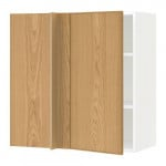 МЕТОД Угловой навесной шкаф с полками - белый, Экестад дуб, 88x37x80 см